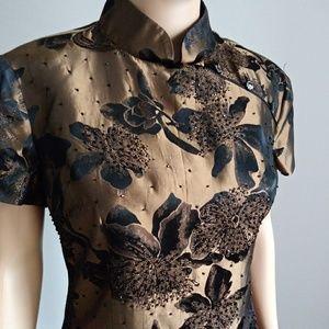Joseph Ribkoff Floral Asian Inspired Blouse Black